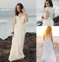 A-Line Reference Images Sweetheart Bohemian Summer Beach Chiffon Lace Long Lace up Wedding Dress Sweetheart with Cap Sleeves Floor Length A-line Boho Bridal Dresses Gowns New