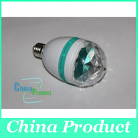 Wholesale Hot Stage Light W E27 RGB Crystal Stage Light Retail lighting Full Color Auto Rotating Stage Effect DJ lamp mini Stage Light Bulb
