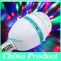 Wholesale Crystal Stage Light Retail W E27 RGB lighting Full Color LED Auto Rotating Stage Effect DJ lamp mini Stage Light Bulb