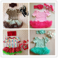 Wholesale Summer Baby Girls Chevron Leopard Zebra Printed Headbands Romper Shoes Outfits Kids One Piece Rompers Clothing B3025