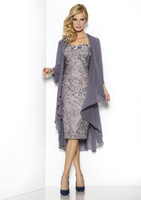 Wholesale 2014 Hot Sale Long Sleeve Knee length Fashion Lace Grey Mother Of The Bride Dresses