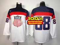 Ice Hockey Men Full White 2014 Sochi Olympic Ice Hockey Jerseys #88 Kane Team USA Olympic Hockey Jersey Brand High Quality Player Shirts Mix Order Hot Selling!_