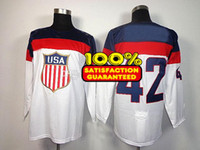 Ice Hockey Men Full White 2014 Sochi Olympic USA National Team 42# David Backes Premier Hockey Jersey Man Ice Hockey Jersey Stitched Authentic High Quality NWT_