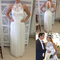 A-Line Reference Images Halter Romantic 2014 Lace Halter Hollow Back Long Bohemian Wedding Dress Chiffon Summer Beach Floor Length A-line Boho Bridal Dresses Gowns Elegant