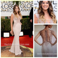 Wholesale Sosie Bacon Celebrity Dresses Deep V Neck Formal Evening Dresses Prom Gown Golden Globe Red Carpet Dresses with Illusion Back E311