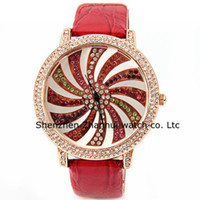 Fashion Women's 24 hours instructions Japan Movement Diamond Watches Fashion Ladies Watches Women Watch with Colorful Diamonds and Windmill Patterned