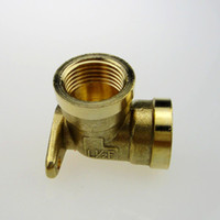 Cheap Thickening copper connector 4 belt wire copper elbow fitted 90 water pipe connector with base plate copper elbow