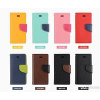Nueva Llegada de Mercurio de Cuero Casos de teléfonos Celulares Para iPhone 4 4s 5 5s Samsung S3 S4 con ranura para tarjeta de Teléfono Celular de los Casos los envases al por menor