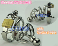 Wholesale Stainless steel Male Chastity Device Metal Cock Cage For Asian Man Size with Urethral Sounds