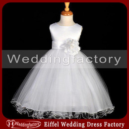 Flower Girl Dresses Cheap In Stock White A Line Jewel Girls Gown for Wedding Party with Flower