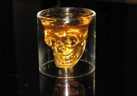 Wholesale Doomed Crystal Skull Shot Glass Crystal Skull Head Vodka Shot Wine Glass Novelty Cup Borosilicate Glass Tea Cups Travel Cup Drop Shipping