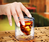 Wholesale 2 Oz ml Doomed Crystal Skull Shot Glass Crystal Skull Head Vodka Shot Cup Drinking Ware Home Bar Red wine glass beer mug Retail Packaging