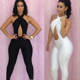 Wholesale 2015 New Fashion Black White Sexy Women s Bodycon Bodysuit Halter Twist Bra Bodywear Jumpsuits Sleeveless Backless Party Club Wear CD011