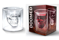 Beer Steins bars deck - 2 Oz ml DOOMED Crystal Skull glass cup Double deck glass skeleton Imprison pirates glass cup Bar Supplies beer mug With Retail Packaging