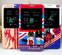 For Samsung Leather Wholesale Fashion S View window England style cute stand flip leather case cover skin shell for Galaxy Note3 note3 N9000 luxury flip cover