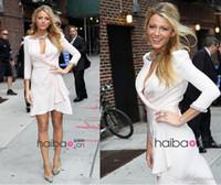 Wholesale 2014 Blake Lively chiffon prom dresses Gossip Girl Serena Jenny Packham celebrity dresses long sleeve halter short white gowns BO4954