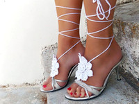 Hotel Shoe Decorations Neutral Wedding White Flower Barefoot sandals,nude shoes foot jewelry, fashion jewelry,Sexy Anklet ,Beach shoes,shoes Accessories.6pairs 12pcs