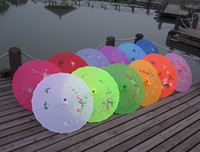Wholesale Chinese umbrella silk parasol hand painted flower designs and mixed colors