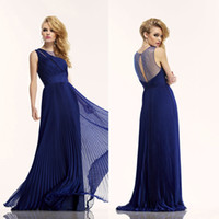 Prom Dresses Royal Blue Pleated Sheer Back Pageant Backless ...