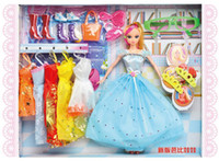 Wholesale EMS Girls Birthday Party Gifts Children Action Figure Barbie Dolls Kids Lovely Beauty Doll Clothes Shoes Bags Glasses Set D2297