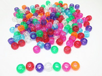 Wholesale New arrival x9mm Transparent Multi Pony Beads W Glitter Inside Craft Plastic Beads