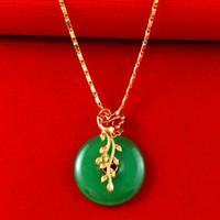 Wholesale Hot Sale K Real Yellow Gold Plated Necklace Africa Jewelry Women Men With Leaf Round Jade Pendant Necklace A071