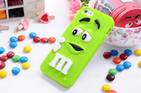 For Apple iPhone Silicone  3D M&M Chocolate Candy Rainbow Bean Smile Silicone Case for iPhone 5G 5S 5 4S 4G 4 Samsung Galaxy S5 S3 i9300 S4 i9500 Note 2 Note 3 N9000