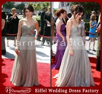 Sweetheart selena gomez dress - Selena Gomez Dress Hot Sales Sweetheart Neckline A line Sweep Train Silver Chiffon Crystal Evening Gowns