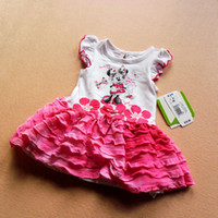 TuTu Summer as picture 2014 Baby Infant Clothes Girls 2T 3T 4T Minnie Mouse Dress Short Sleeve Cotton Kids Characters Cake Dress Children Summer Clothing