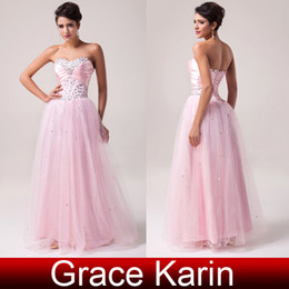 Wholesale GK New Arrival Sexy Sweetheart Beaded Crystal Prom Dresses Corset Bodice Pink Tulle Ball Gown Size US2 US16 CL6042