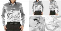 Casual Men Denim New Arrival EUR-USA Style Elastic Silk like Satin Bridegroom Shirt Men Wedding Prom Groom Shirts 21 Colors 6 Sizes(S M L XL XXL XXXL) J171