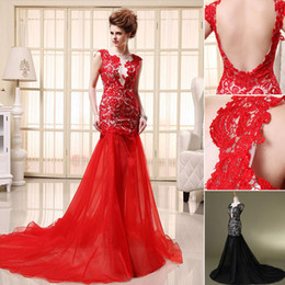 Wholesale 2014 In Stock Dresses Red Black Prom Dresses Evening Gown With Sheer Crew Backless Lace Appliques Split Side Mermaid Court Train SD071