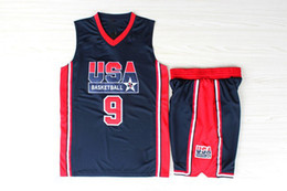 Wholesale Jordans BLACK Throwback Basketball Jerseys With Shorts Top USA Dream Team Jerseys Shirts Mens Black Basketball Jersey Shirts