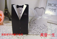 Favor Boxes White Paper 2014 NEW Wedding candy box Bride Groom Wedding Bridal Favor Gift Boxes 100 pairs 200 pcs Gown Tuxedo TH2