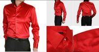 Casual Men Denim Fashionable EUR-USA Style Elastic Silk like Satin Bridegroom Shirt Men Wedding Prom Groom Shirts 21 Colors 6 Sizes(S M L XL XXL XXXL) J170