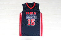 Wholesale Magic Earvin Johnson Olympic Jerseys USA Basketball Dream Team One Embroidered Jerseys Revolution High Quality Basketball Shirts