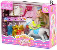 Wholesale Girls Birthday Gifts Children Action Figure Barbie Dolls Kids Lovely Beauty Doll Clothes Cats horse bathroom bed Set sets D2299