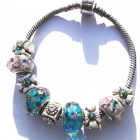Cheap Hot Sell 925 Silver European Charm Bracelet Bangle for Women with Murano Glass Beads Fashion Love DIY Jewelry GL04