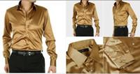 Casual Men Denim Fashionable EUR-USA Style Elastic Silk like Satin Bridegroom Shirt Men Wedding Prom Groom Shirts 21 Colors 6 Sizes(S M L XL XXL XXXL) J176