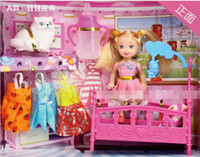 Wholesale EMS Girls Birthday Gifts Children Action Figure Barbie Dolls Kids Lovely Beauty Doll Clothes Cats horse bathroom bed Set sets D2299