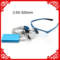 Wholesale 2014 Dental Dentist Surgical Medical Binocular Loupes X mm Optical Glass Loupe LED Head Light Lamp Blue