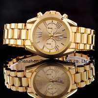 gold - 2015 NEW HOT Calendar WATCHES ROSE GOLD STAINLESS STEEL WATCH WATERPROOF QUARTZ WRISTWATCHES LUXURY WATCHES GOLD MEN LADIES