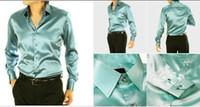 Casual Men Denim Gorgeous EUR-USA Style Elastic Silk like Satin Bridegroom Shirt Men Wedding Prom Groom Shirts 21 Colors 6 Sizes(S M L XL XXL XXXL) J177