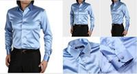 Casual Men Denim Gorgeous EUR-USA Style Elastic Silk like Satin Bridegroom Shirt Men Wedding Prom Groom Shirts 21 Colors 6 Sizes(S M L XL XXL XXXL) J178