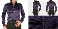 Casual Men Denim Fabulous EUR-USA Style Elastic Silk like Satin Bridegroom Shirt Men Wedding Prom Groom Shirts 21 Colors 6 Sizes(S M L XL XXL XXXL) J180