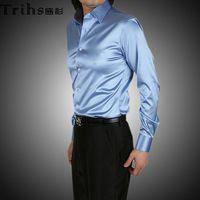 Casual Men Denim Fabulous EUR-USA Style Elastic Silk like Satin Bridegroom Shirt Men Wedding Prom Groom Shirts 21 Colors 6 Sizes(S M L XL XXL XXXL) J182