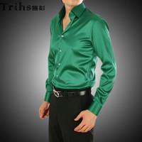 Casual Men Denim Fabulous EUR-USA Style Elastic Silk like Satin Bridegroom Shirt Men Wedding Prom Groom Shirts 21 Colors 6 Sizes(S M L XL XXL XXXL) J183
