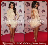 Wholesale Selena Marie Gomez Celebrity Dress High Neck Sheath Sheer Back Long Sleeve Beige Lace Long Sleeve Short Prom Evening Dresses