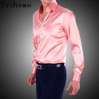 Casual Men Denim New Style Elastic Silk like Satin Bridegroom Shirt Men Wedding Prom Groom Shirts 21 Colors 6 Sizes(S M L XL XXL XXXL) J184