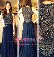 Reference Images Crew Chiffon robe de soiree 2014 New Cheap Sexy Sleeveless Scoop Neckline Dark Blue Chiffon Beaded Crystals Long Prom Dresses Formal Evening Gowns BO5235